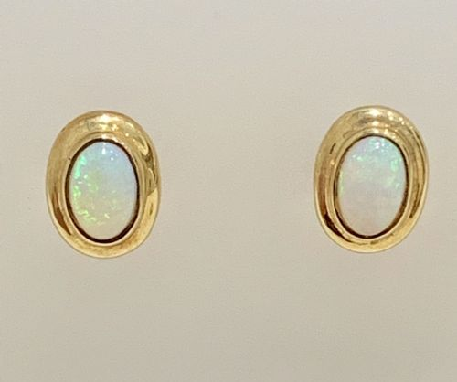 Opal Yellow Gold Rubbed Over Oval Earrings